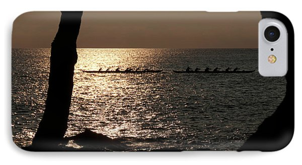 Hawaiian Dugout Canoe Race At Sunset IPhone Case by Michael Bessler
