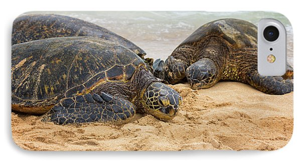Hawaiian Green Sea Turtles 1 - Oahu Hawaii IPhone Case by Brian Harig