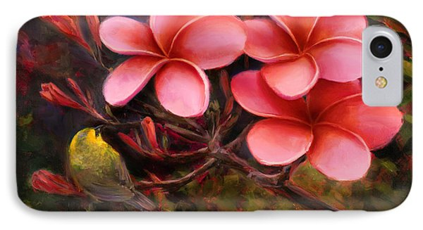 IPhone Case featuring the painting Hawaiian Pink Plumeria And Amakihi Bird by Karen Whitworth