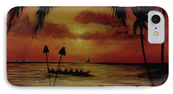 Hawaiian Sunset Paddlers #283 Phone Case by Donald k Hall