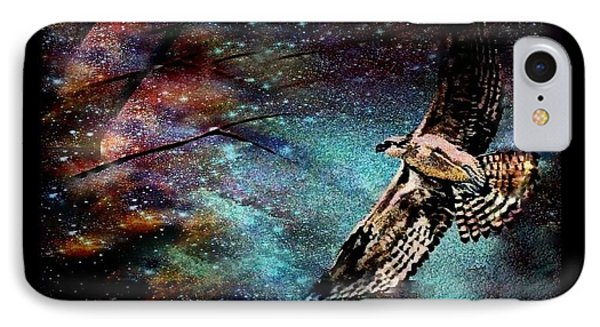 IPhone Case featuring the mixed media Hawk At Night by YoMamaBird Rhonda