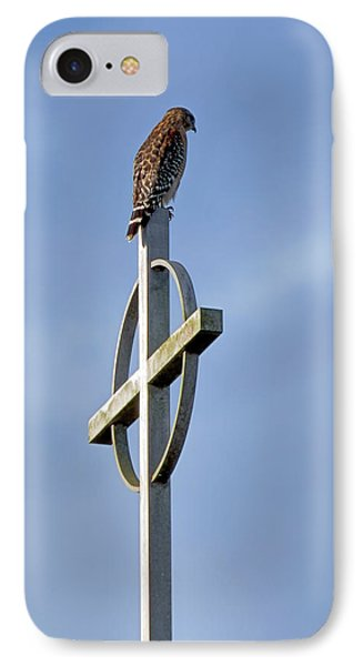 IPhone Case featuring the photograph Hawk On Steeple by Richard Rizzo