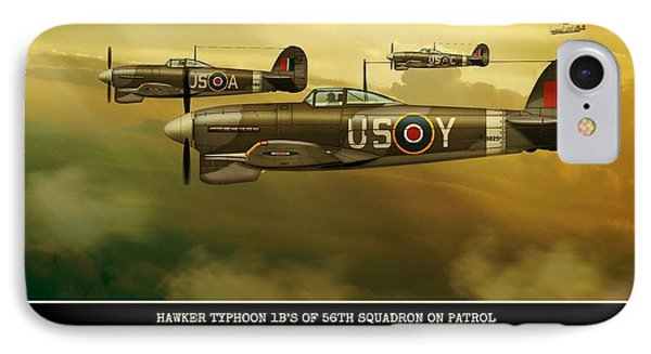 IPhone Case featuring the digital art Hawker Typhoon Sqn 56 by John Wills