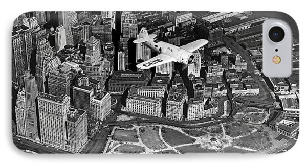 Hawk's Plane Over Battery Park Phone Case by Underwood Archives