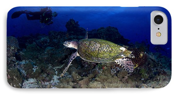 Hawksbill Turtle Swimming With Diver Phone Case by Steve Jones