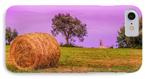 Hay Bale And Campanile. Evening In Lombardy IPhone Case by Dmytro Korol