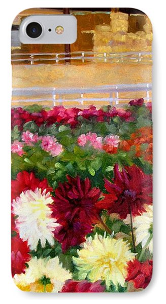 Hay Bales And Dahlias IPhone Case by Deborah Cushman