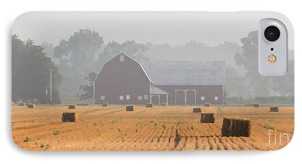 Hay Bales And Red Barn At Sunrise Phone Case by Jack Schultz