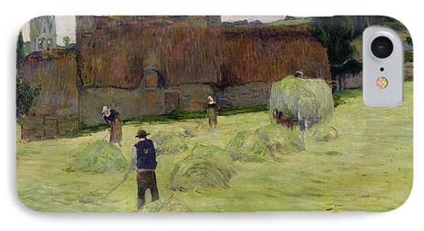 Haymaking In Brittany IPhone Case by Paul Gauguin