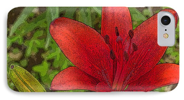IPhone Case featuring the digital art Hazelle's Red Lily by Jana Russon
