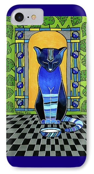 IPhone Case featuring the painting He Is Back - Blue Cat Art by Dora Hathazi Mendes
