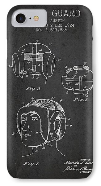 Head Guard Patent From 1924 - Charcoal IPhone Case by Aged Pixel