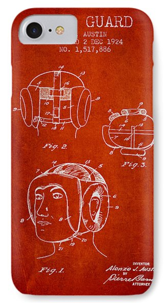 Head Guard Patent From 1924 - Red IPhone Case by Aged Pixel