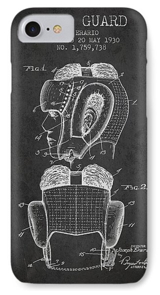 Head Guard Patent From 1930 - Charcoal IPhone Case by Aged Pixel