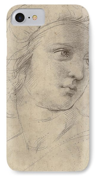 Head Of A Muse IPhone Case by Raphael