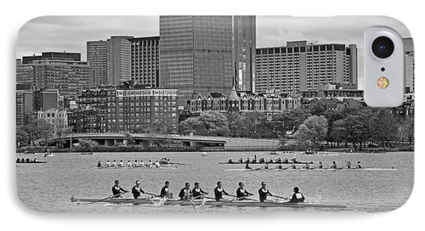 Head Of The Charles. Charles Rowers Black And White IPhone Case by Toby McGuire