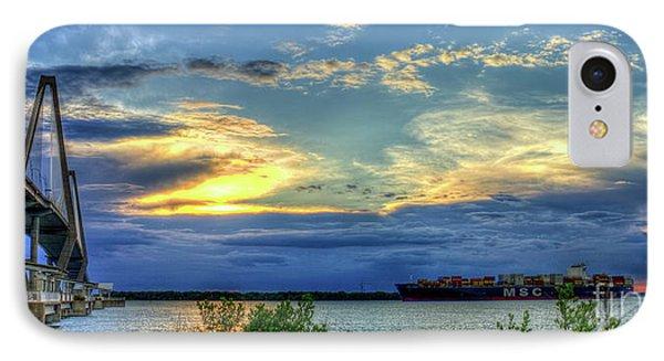 Headed Out To Sea The Arthur Ravenel Jr Bridge  Charleston Harbor South Carolina IPhone Case by Reid Callaway