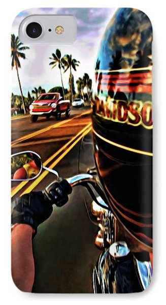 Heading Out On Harley IPhone Case by Joan  Minchak