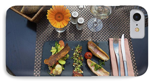 IPhone Case featuring the photograph Health Fish Dish Served At A French Restaurant by Semmick Photo