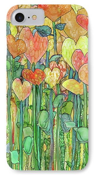 IPhone Case featuring the mixed media Heart Bloomies 1 - Golden by Carol Cavalaris