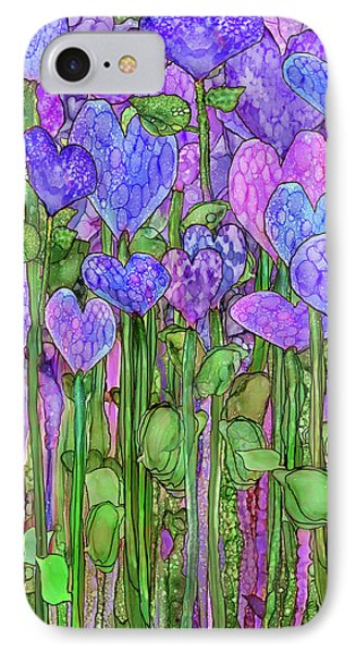 IPhone Case featuring the mixed media Heart Bloomies 1 - Purple by Carol Cavalaris