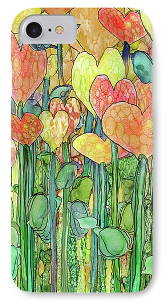 IPhone Case featuring the mixed media Heart Bloomies 2 - Golden by Carol Cavalaris