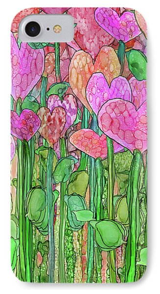 IPhone Case featuring the mixed media Heart Bloomies 2 - Pink And Red by Carol Cavalaris