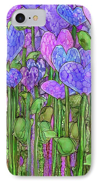 IPhone Case featuring the mixed media Heart Bloomies 2 - Purple by Carol Cavalaris