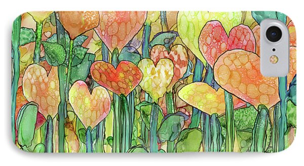 IPhone Case featuring the mixed media Heart Bloomies 3 - Golden by Carol Cavalaris