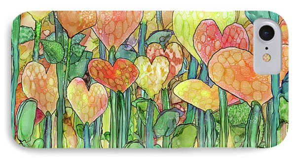 Heart Bloomies 3 - Golden IPhone Case by Carol Cavalaris