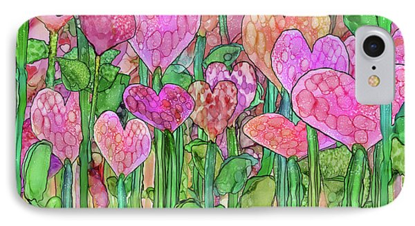 IPhone Case featuring the mixed media Heart Bloomies 3 - Pink And Red by Carol Cavalaris