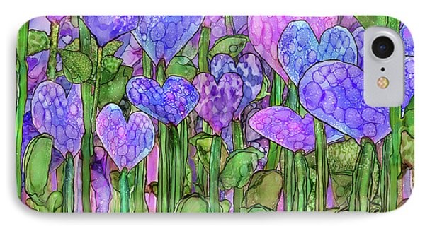 IPhone Case featuring the mixed media Heart Bloomies 3 - Purple by Carol Cavalaris