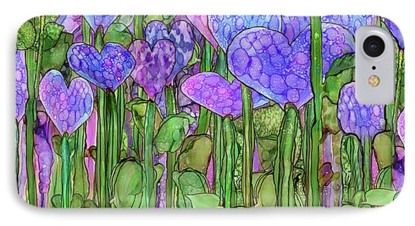 IPhone Case featuring the mixed media Heart Bloomies 4 - Purple by Carol Cavalaris