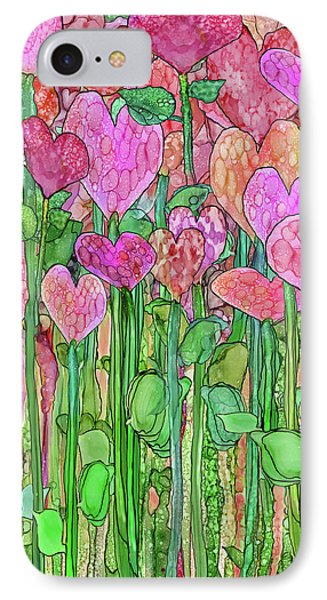 IPhone Case featuring the mixed media Heart Bloomies 1 - Pink And Red by Carol Cavalaris