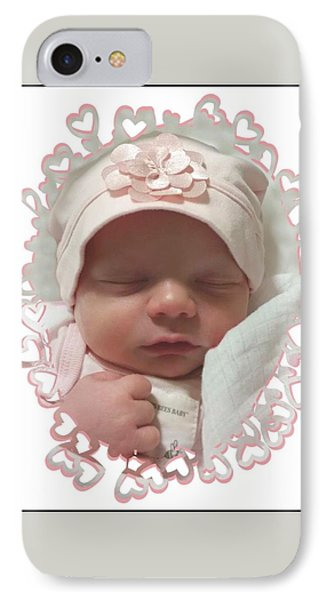 Heart Border On Newborn Girl IPhone Case by Ellen O'Reilly