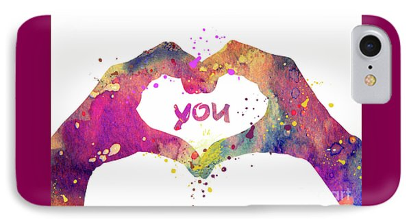 Heart Love Hands 2 Watercolor Art Print IPhone Case