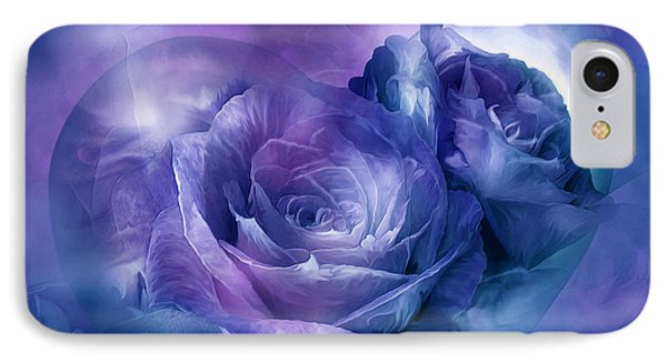 IPhone Case featuring the mixed media Heart Of A Rose - Lavender Blue by Carol Cavalaris