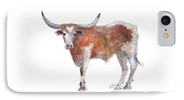 Cow iPhone 7 Case - Heart Of Texas Longhorn by Kathleen McElwaine
