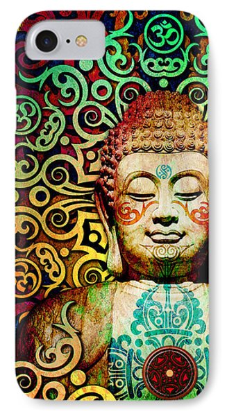 Heart Of Transcendence - Colorful Tribal Buddha IPhone Case by Christopher Beikmann