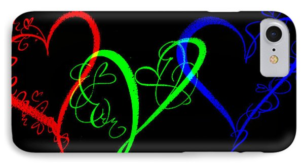 Hearts On Black IPhone Case by Swank Photography