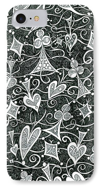 Hearts, Spades, Diamonds And Clubs In Black IPhone Case by Lise Winne
