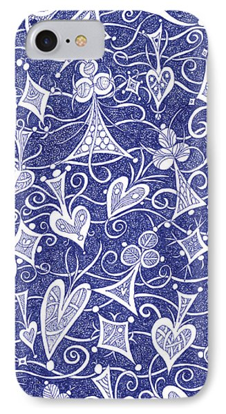 Hearts, Spades, Diamonds And Clubs In Blue IPhone Case by Lise Winne