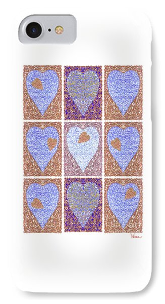 Hearts Within Hearts In Copper And Blue IPhone Case by Lise Winne