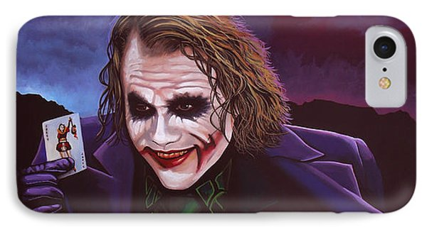 Heath Ledger As The Joker Painting IPhone 7 Case by Paul Meijering