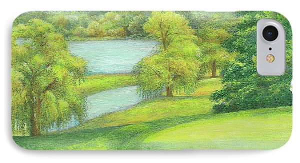 IPhone Case featuring the painting Heavenly Golf Course Landscape by Judith Cheng