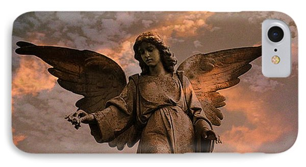 Heavenly Spiritual Angel Wings Sunset Sky  Phone Case by Kathy Fornal