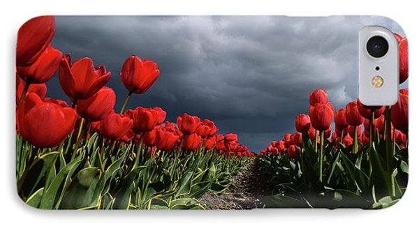 Heavy Clouds Over Red Tulips IPhone Case by Mihaela Pater