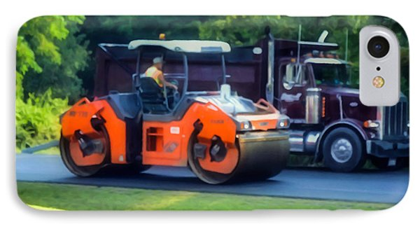 Heavy Tandem Vibration Roller Compactor At Asphalt Pavement Works For Road Repairing 1 IPhone Case