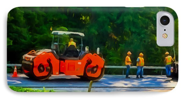 Heavy Tandem Vibration Roller Compactor At Asphalt Pavement Works For Road Repairing 2 IPhone Case by Lanjee Chee
