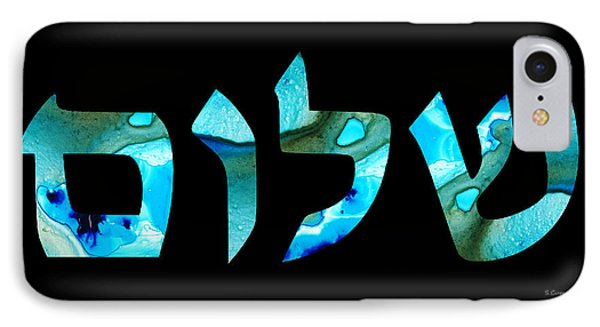 Hebrew Writing - Shalom 2 - By Sharon Cummings IPhone Case by Sharon Cummings